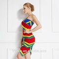 etnia colorido sexy halter vestido de malha para senhoras elegantes