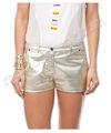 las mujeres con estilo de la moda de plata suave de cuero pantalones cortos