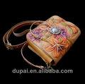 artesanato vintage escultura flor bolsa de couro