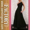 elegante um ombro sexy vestido longo preto simples vestido