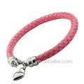 de color rosa de color de cuero trenzado para la fabricación de pulseras para las niñas