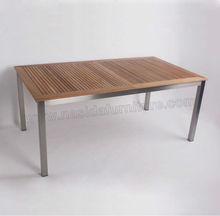 tl024 jardín al aire libre 304 marco de acero inoxidable mesa extensible de madera
