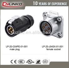 Ip65/ip68 nickle latão 4 pinos conector para cabo plug para tomada de tela led de iluminação de palco