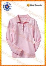Chicas manga larga de algodón pima personalizado polo diseño/baratos de china al por mayor de ropa de niños