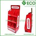 Display de chão papel POP para carrinho de exposição de papelão chão de luzes led