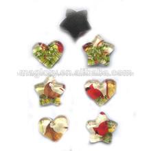 De promoción estrella de cristal de la forma del imán, la forma del corazón de vidrio imán