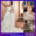 2014 lujo abierto de vuelta catedral cola marfil sirena vestido de novia con volantes de organza vestido de novia( wd-048)