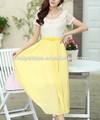Pretty passos 2014 amarelo laço novo modelo de vestido longo/cantão vestuário fabricante