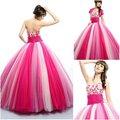 q0031 vestido de bola de tres colores vestido de quinceañera