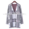 De invierno 2014 retro nuevo patrón geométrico de las señoras jacquard de punto a largo- de manga larga chaqueta de punto jersey