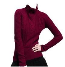 dames cachemire col haut à manches longues pull en tricot câble épais