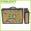 antiguos de madera búho de lona impresión maleta