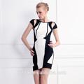 blanco y negro de patchwork vendaje vestido de fiesta vestido patrón