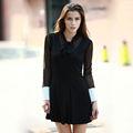 YIGELILA Las mujeres de Moda Casual vestido de manga larga negro encaje 6414