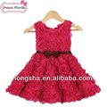 bébé fille robe de couleur rouge rouge robes de mariée en dentelle vintage fleur fille robe