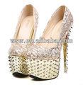 por mayor nuevo diseño caliente venta de la mejor calidad de oro sexy/de encaje de plata del alto talón zapatos de verano 2014