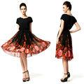 mulher flor de seda vintage impressão longa noite ruffle bola vestido vestido