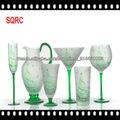 Verrerie de carafe d'eau en verre vert dépoli