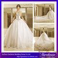 Cristales de lujo vestido de bola rebordeó los vestidos de boda en China Wholesale Designer con longitud de la catedral de tren