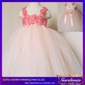 2014 nueva llegada de la princesa hermosa flor de color rosa vestido de las niñas niños vestidos de novia( fd- 001)