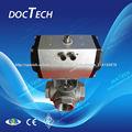 Caliente las ventas solo/neumáticos de doble efecto actuador de la válvula con g1/2'' tipo t 3 manera de acero inoxidable válvul