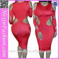 venta al por mayor de pinchos de estiramiento de color rojo bodycon largo vestido