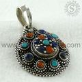 925 joyería de plata esterlina/de coral & turquesa piedras preciosas lapis colgante de plata