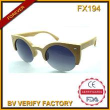 Fx194 redondo de madera marco de gafas de sol polarizadas, italia diseño de logotipo personalizado gafas de sol