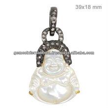 14k en oro amarillo de laughing buddha colgante, 925 colgante de plata, diamante de la madre de la perla de laughing buddha dios