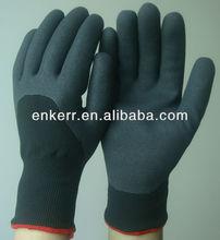 black areia nitrilo revestido de camada dupla forro deinverno luva