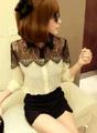 blusa 2014 ropa importada de China Botón de encaje de manga larga de la vendimia de la gasa de Empalme Tops T-shirt Blusa