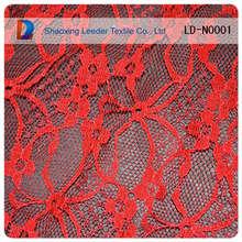 nova moda tela do laço de nylon vermelho flor de tecido do laço em estoque para o vestido da senhora