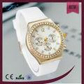 Reloj de diamantes de la moda banda de silicona