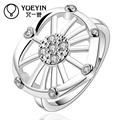 Níquel exquisita mezcla de estilos de rueda libre corazón anillo de dedo en forma de micro gemas