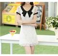 2014 vestido de manga corta de flores de ganchillo lindo encaje vestido de niña vestido de fiesta más el tamaño de s- xxxl 6053