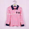 2014 e&b 100% red stripe polo en coton à manches longues t shirt enfants vêtement pour 3-7 ans fabricant de la chine
