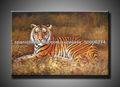 100% tigre hecha a mano pintura al óleo animal