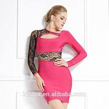 el último de color rosa de corte vendaje a cabo negro vestido vestido de red diseños