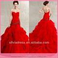 2014 goingwedding novia de cuentas vestido de bola roja vestidos de novia c068