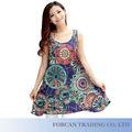 Moda impreso completo Floral mujeres vestidos de tamaño M-3XL venta por mayor dama verano vestido sin mangas Vintage BS06015