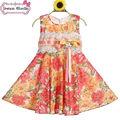 baby girl vestidos de algodón de moda en el patrón de flores niños vestido de flores