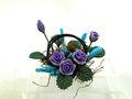 en miniatura jardín de flores accessoires arreglo floral en canasta de alambre para casa de muñecas