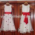 échantillon réel pp0026 vente chaude robes fille fleur blanche et rouge enfants robe de mariée pour les enfants