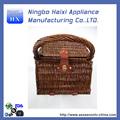 novo e útil cesta de piquenique com fundamentos domésticos tecido de vime em forma de quadrado totalmente forrado serviço para 4