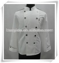 Chef blanco ropa de trabajo doble- botonadura capa de chef ejecutivo unifrom