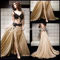 Thj8569 2014 especial ocasión vestidos sexy v- cuello bordado de gasa de champagne backles larga noche vestidos de encaje
