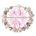 Cinta de color rosa para el cáncer de mama conciencia plateado joyería encanto pulsera