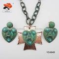 Joyas enchapadas modernas- Venta al por mayor de juego de joyas: collar y aros con diseño de corazón