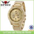 A la moda relojes para caballero dorado con gran esfera para hombres, reloj metal caballero al por mayor