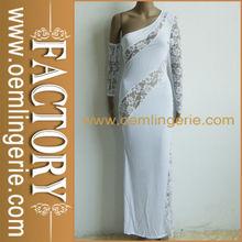vestido de encaje blanco de manga larga sexy